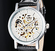 Men's Auto-Mechanical Elegant Hollow Dial Black Leather Band Wrist Watch (Assorted Colors)