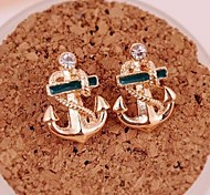 Fashion Creative Navy Hand Anchor Personality Stud Earrings