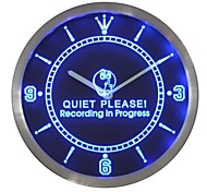 Gravação nc0440 in Progress Silêncio por favor On Air Sinal de néon LED Relógio de parede