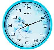 "Timess™ 12""H Crystal Blue  Flowers Super Mute Metallic Wall Clock"