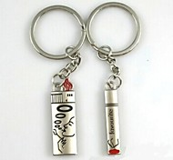 (A pair)Cigarettes and Lighters Interesting High-grade Stainless Steel Keychain Symbol of Love
