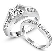 2Pcs/Set Wedding Engagament Ring Womens Rings Weddings & Events Classic AAA Silver Rings Set