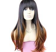 жен. Парики из искусственных волос Длиный #1B/30 Волосы с окрашиванием омбре Темные корни С чёлкой Парик для Хэллоуина Карнавальный парик