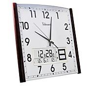 "Telesonic™ 20""H Square Shape Perpetual Calendar Imitation Wood Grain Coating Super Mute Wall Clock"