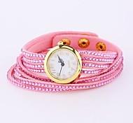 Coway Women's Round Dial Pink Leather Diamond Band Quartz Analog  Braceiet Watch