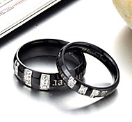 New Diamond Black Titanium Lovers Ring Fashion Personality