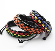 Unisex Fashion Genuine Leather Cuff Bracelet Weave Jewelry Chain for Gift