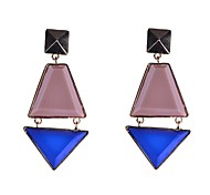 Fashion Big Resin Stone Set Drop Earrings