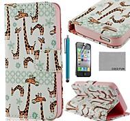 Cuero lindo de la jirafa de la PU de la caja de cuerpo completo COCO FUN ® con protectores de pantalla, Stand and Stylus para iPhone 4/4S