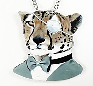 Leopard Pattern Wood Necklace