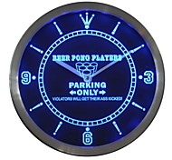 Beer Pong Player Parking Only Gift Bar Neon Sign LED Wall Clock