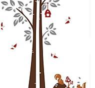 Desenhos animados Doudouwo ® Esquilos sob a parede árvore adesivos