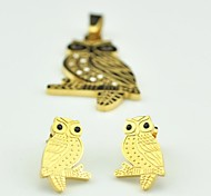 Toonykelly® Fashion Owl Stainless Steel(Include Pendent with Earring)Jewelry Set