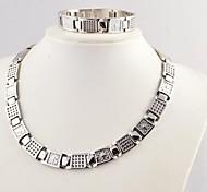 Relógio Forma Masculina Moda Magnet Saúde Conjuntos de titânio de aço colares e pulseiras Jóias