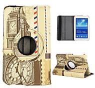 Twin Bridges Pattern 360 Rotatable Auto Sleep/Wake Leather Case for Samsung Galaxy Tab 3 Lite T110