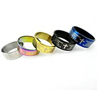 Multicolor Cross Bible Men Titanium Steel Ring