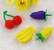 Cute Detachable Cherry And Grape And Banana Shaped Eraser (Random Color x 4 PCS)