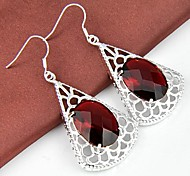 Classic Ruby Quatz Gemstone Daily Drop Silver Earrings 1pair