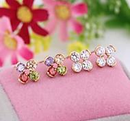New Fashion 18K donne del fiore placcato oro Orecchino a ERZ0392