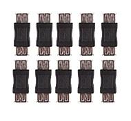 Professional USB Female to USB Female Adapter - Black(10 PCS)