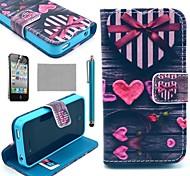 COCO FUN ® d'amour de coeur K20 Motif portefeuille en cuir PU cas avec le stand pour l'iPhone 4S Inclus Film et Stylus