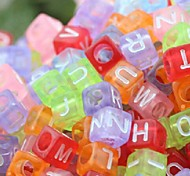Z&X®  DIY Beads Material Transparent Colored Letter Cubic Beads 50 PCS(Random Color, Pattern)