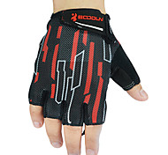 BOODUN Men's Black and Red Microfiber Bike Bicycle Half Finger Cycling Gloves
