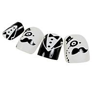 24PCS Mustache Design Black&White Nail Art Tips With Glue