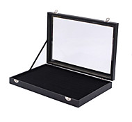 Classic 100 Sets Ring Jewelry Stand Black Leather Paper Glass Flannelette Jewelry Boxes(1 Pc)