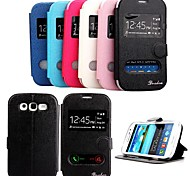 For Samsung Galaxy Case with Stand / with Windows / Flip Case Full Body Case Solid Color PU Leather Samsung Win