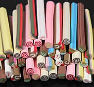 50PCS Cake Pattern 3D Cane Stick Rod Sticker Random Color Nail Art Decoration