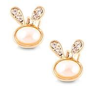 (1 Pair)Sweet (Diamond Rabbit Ears) as Picture Alloy Stud Earrings