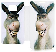 Cartoon Donkey Leather Full Body Case voor Samsung Galaxy S2 I9100