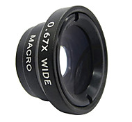 Detachable 0.67X Wide Angle + Macro Lens for Cell phone / Camera - Black