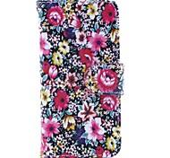 floraison motif de fleur en cuir PU cas de tout le corps avec support et porte du logement de la carte et de l'argent pour iphone 5/5s