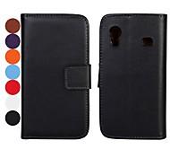 Sólido Cuero Color caja de la PU de cuerpo completo con el soporte y ranura para tarjeta para Samsung Galaxy Ace S5830 (colores surtidos)