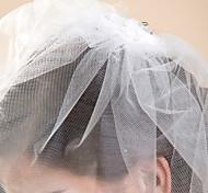 Velos de Boda 1 capa Corto o Blusher Corte de borde 10-20cm Tul Blanco / Marfil Corte A, evasé, princesa, recto, sirena