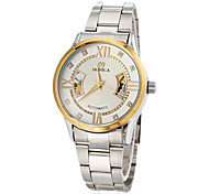 Men's Auto-Mechanical Gold Rim Case Silver Steel Band Wrist Watch