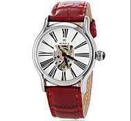Women's Auto-Mechanical Roman Numeral Skeleton Leather Band Wrist Watch (Assorted Colors)