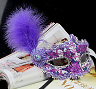 Party Queen Lace & Feather Women's Carnival Masquerade Mask