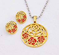 Beautiful Rose Titanium Steel Gold Plated  Necklaces and Earrings Jewelry Sets
