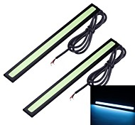 Merdia 2pcs 7W 1800LM 8000K COB LED Ice Blue Light Luz de tira del coche / día LED (17 CM / 12 V)