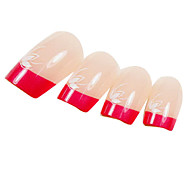 24PCS Rose Fingertip Design Natural Nail Art French Tips With Glue