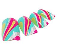 24PCS Colorful Scrawl Design Nail Art Tips With Glue
