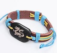 Bracelet d'identité ethnique dragon 25cm unisexe multicolore en cuir (multicolore) (1 PC)