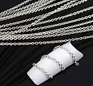Chapado en plata de 10 metros de cadena, metal, línea de uñas aleación 3d decoración del arte
