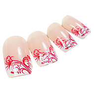 24PCS Red Arabesque Diseño Rosa Consejos de uñas de arte con pegamento de