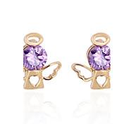 Women's New Fashion 18K Gold Plated Angel Shaped Design Stud Zircon Earring ERZ0409
