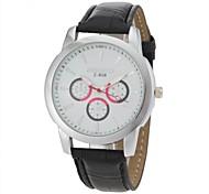 Men's Casual Style Black PU Band Quartz Wrist  Watch