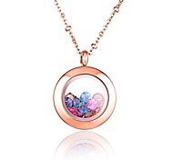 Fashion Rose Gold Titanium  Steel Can Put Ornamental Pendant Necklace with Color Crystal Stones